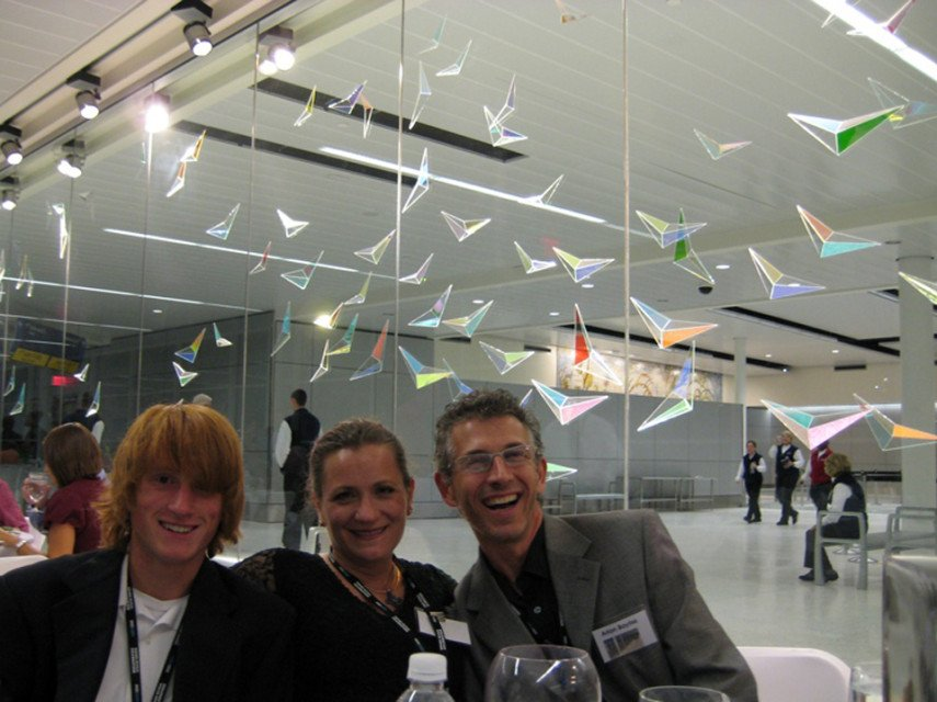 """Flight Wave"" Indianapolis International Airport: Gala Opening. L to R: Sam, Mary Jo and Arlon Bayliss"