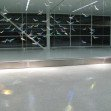 """Flight Wave"" Indianapolis International Airport: Dichroic glass, Metal Halide Lighting. Detail (night)"
