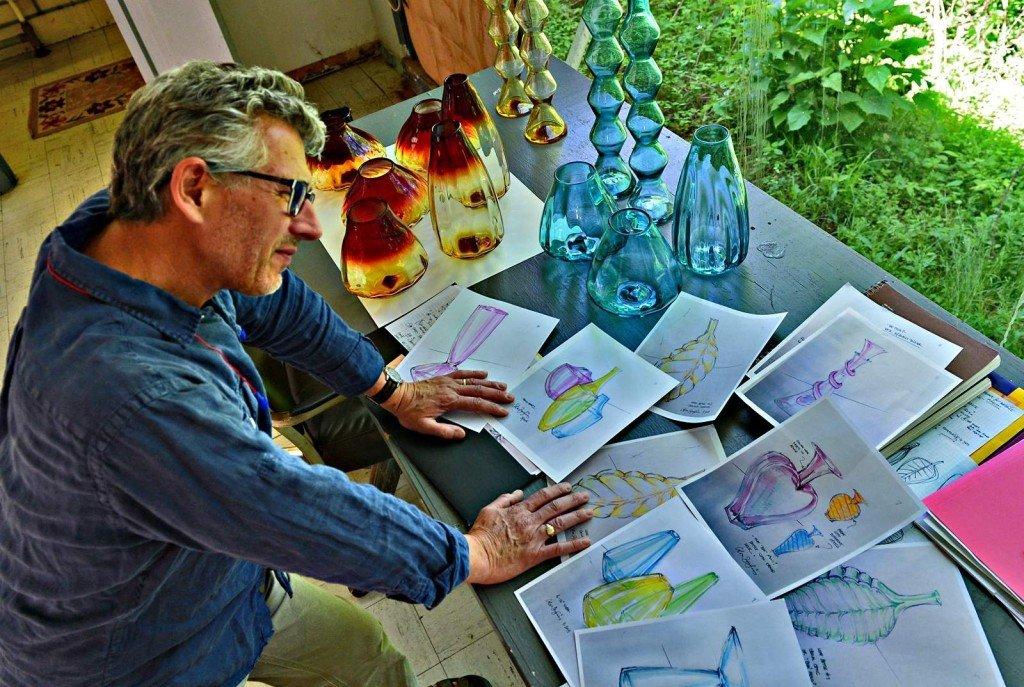 Arlon Bayliss in Blenko Design Studio. Photo: Tom Hindman, Charleston Daily Mail